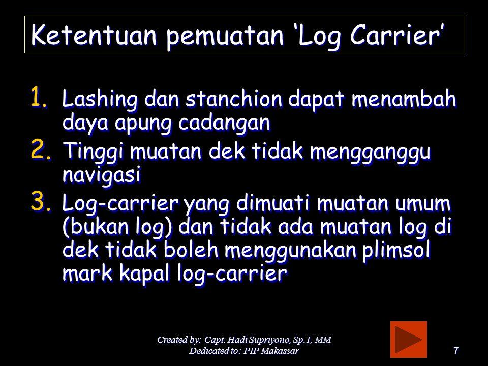 Ketentuan pemuatan 'Log Carrier'