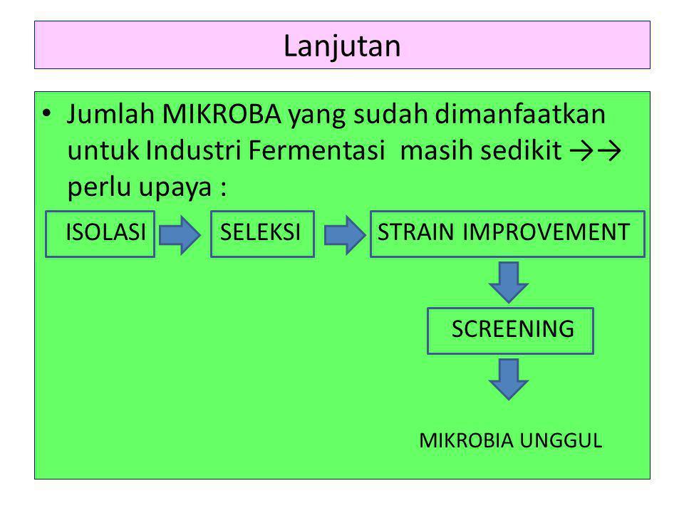 Lanjutan Jumlah MIKROBA yang sudah dimanfaatkan untuk Industri Fermentasi masih sedikit →→ perlu upaya :