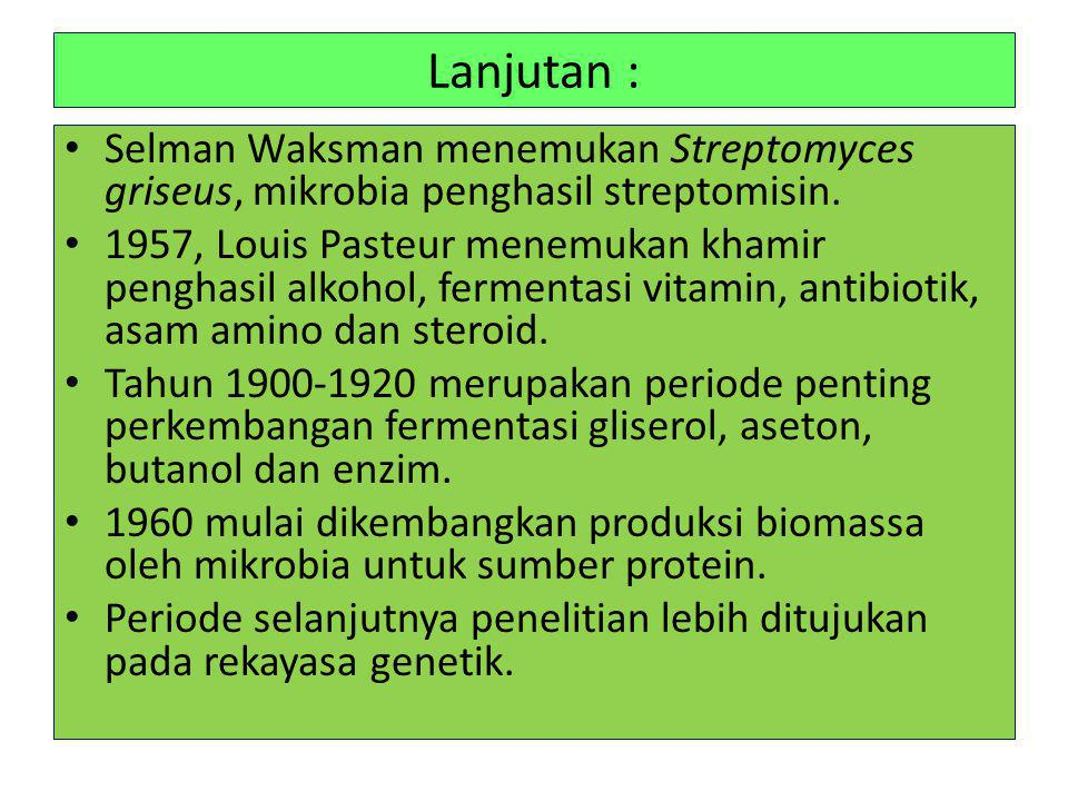 Lanjutan : Selman Waksman menemukan Streptomyces griseus, mikrobia penghasil streptomisin.