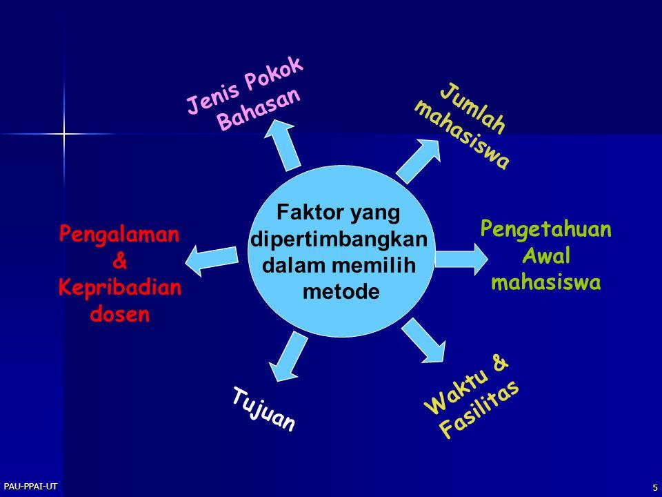 Jenis Pokok Bahasan Jumlah mahasiswa Faktor yang dipertimbangkan