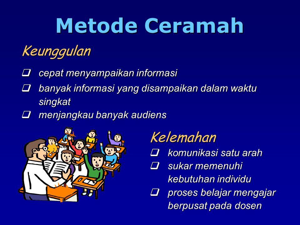 Metode Ceramah Keunggulan q cepat menyampaikan informasi q banyak informasi yang disampaikan dalam waktu singkat q menjangkau banyak audiens.