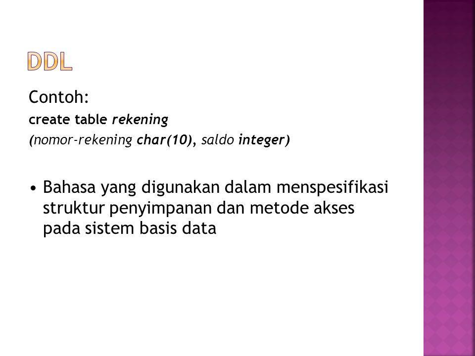 DDL Contoh: create table rekening. (nomor-rekening char(10), saldo integer)