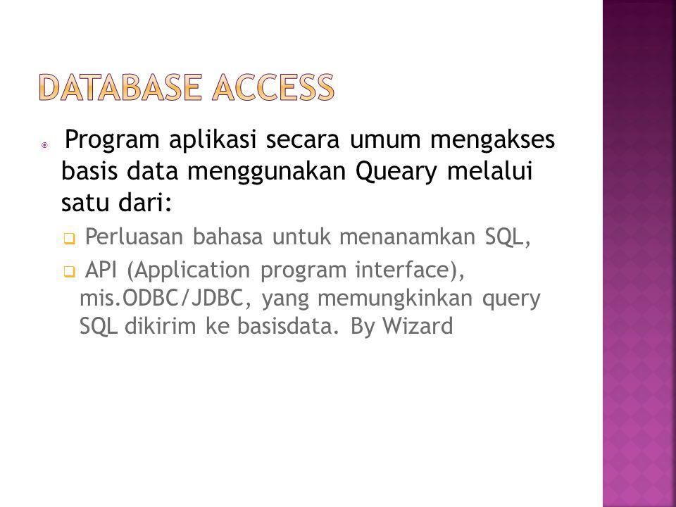 Database access Perluasan bahasa untuk menanamkan SQL,