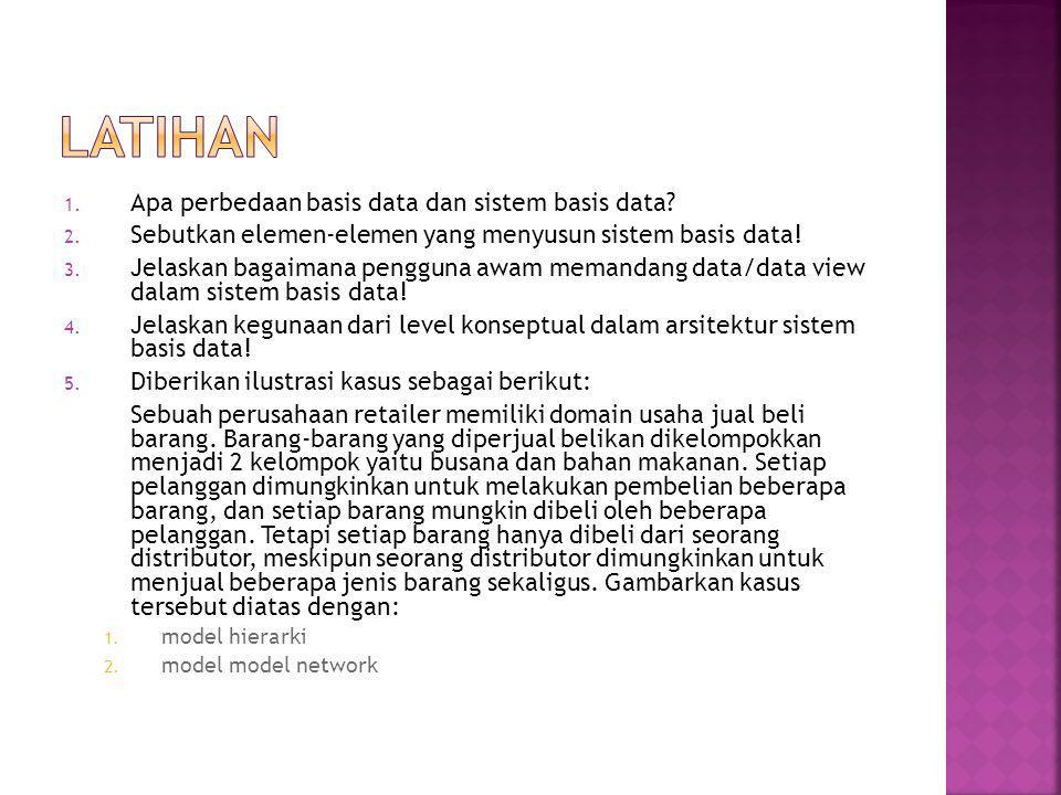 LATIHAN Apa perbedaan basis data dan sistem basis data