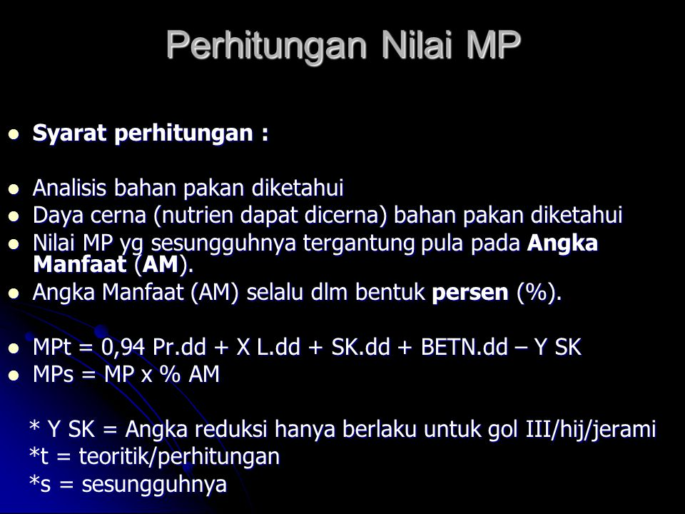Perhitungan Nilai MP Syarat perhitungan :
