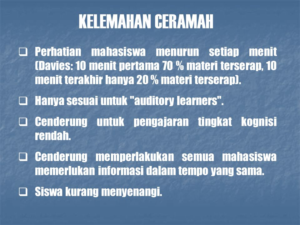 KELEMAHAN CERAMAH