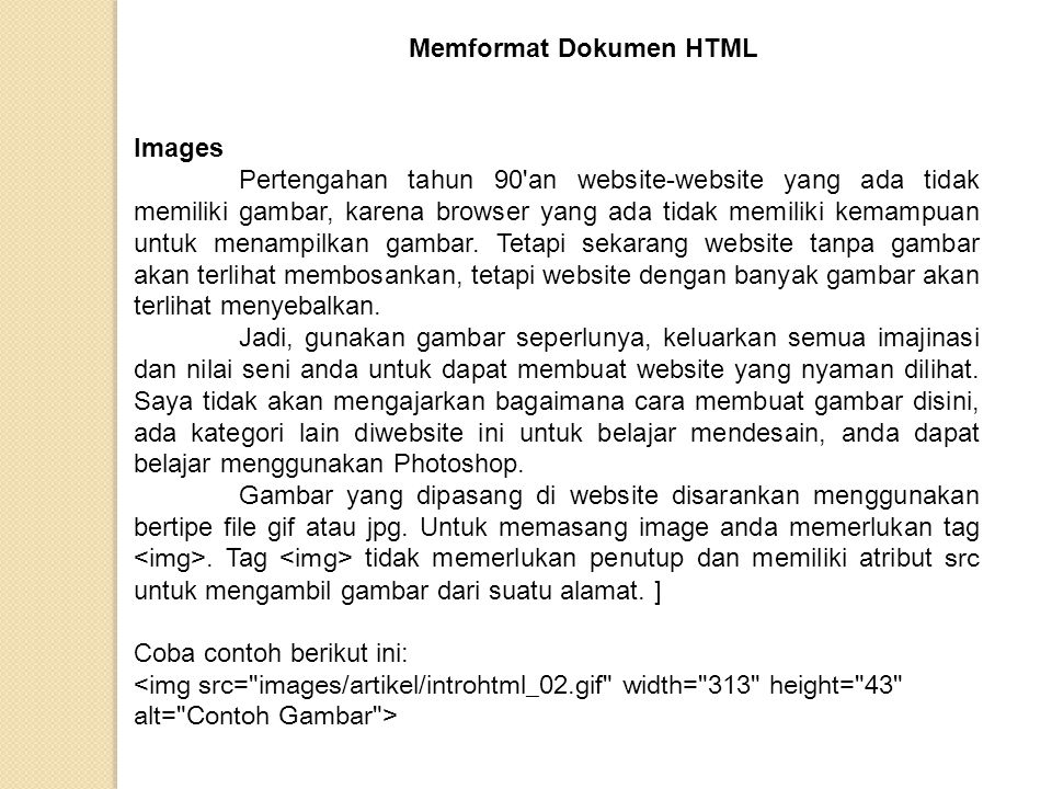 Memformat Dokumen HTML