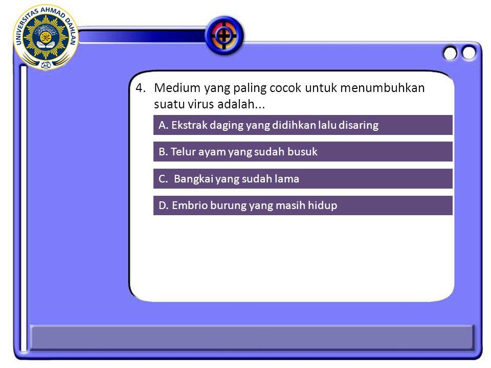 4. Medium yang paling cocok untuk menumbuhkan suatu virus adalah...