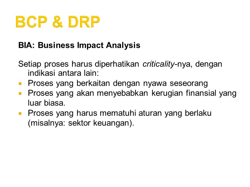 BCP & DRP BIA: Business Impact Analysis