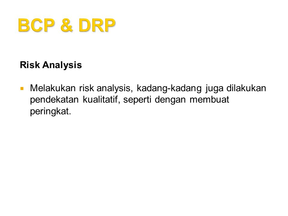 BCP & DRP Risk Analysis.