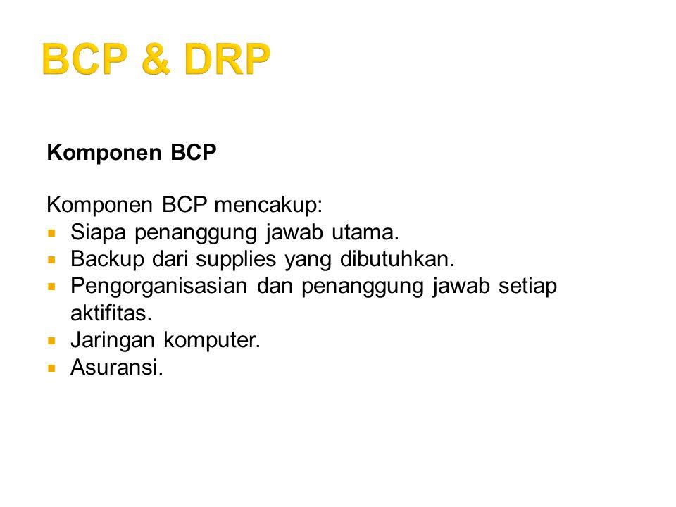 BCP & DRP Komponen BCP Komponen BCP mencakup: