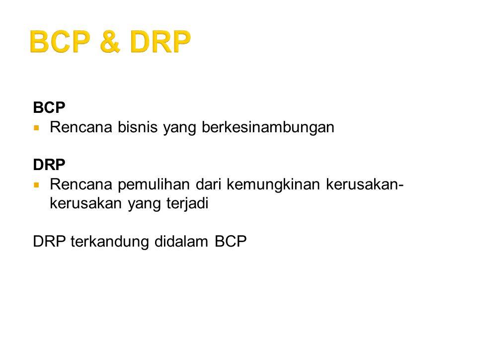 BCP & DRP BCP Rencana bisnis yang berkesinambungan DRP