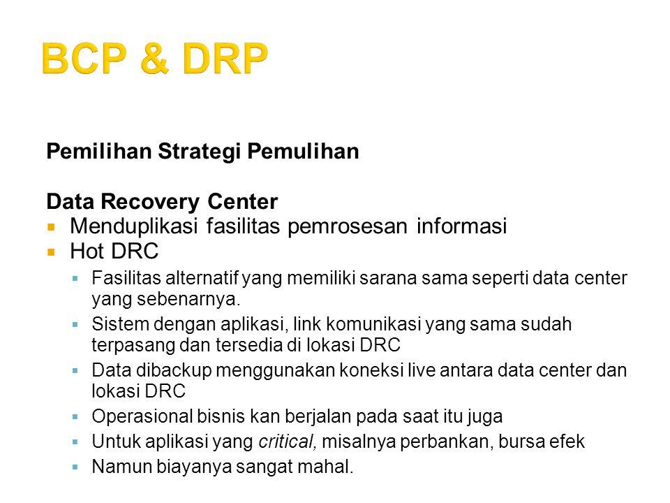 BCP & DRP Pemilihan Strategi Pemulihan Data Recovery Center