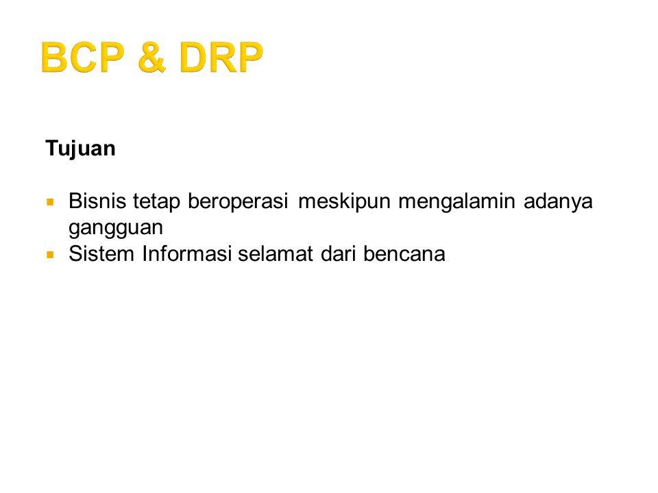 BCP & DRP Tujuan. Bisnis tetap beroperasi meskipun mengalamin adanya gangguan.