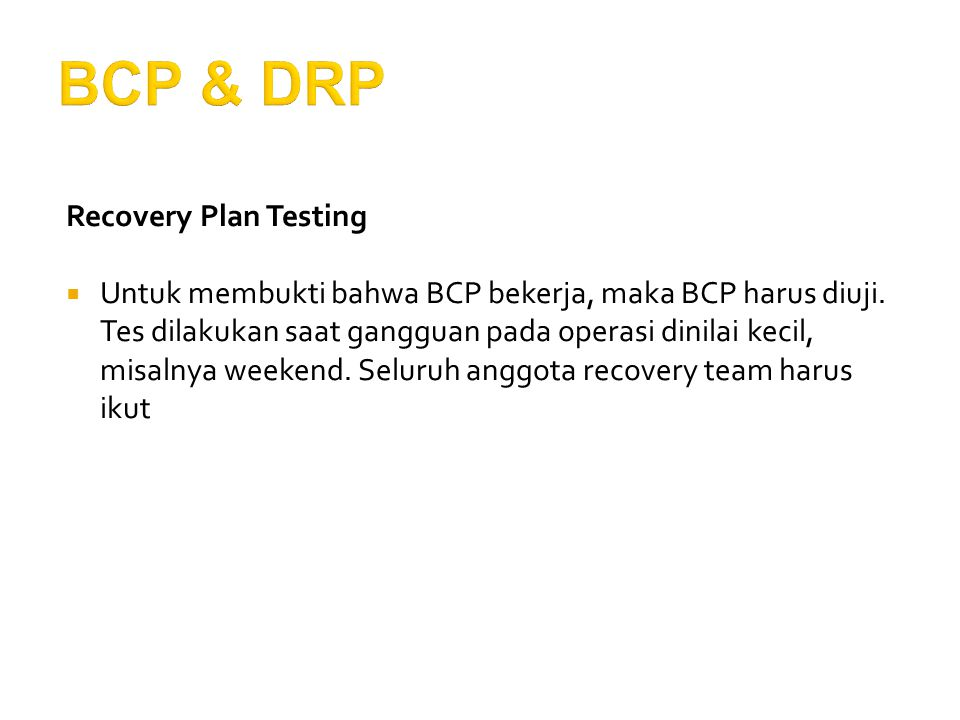 BCP & DRP Recovery Plan Testing