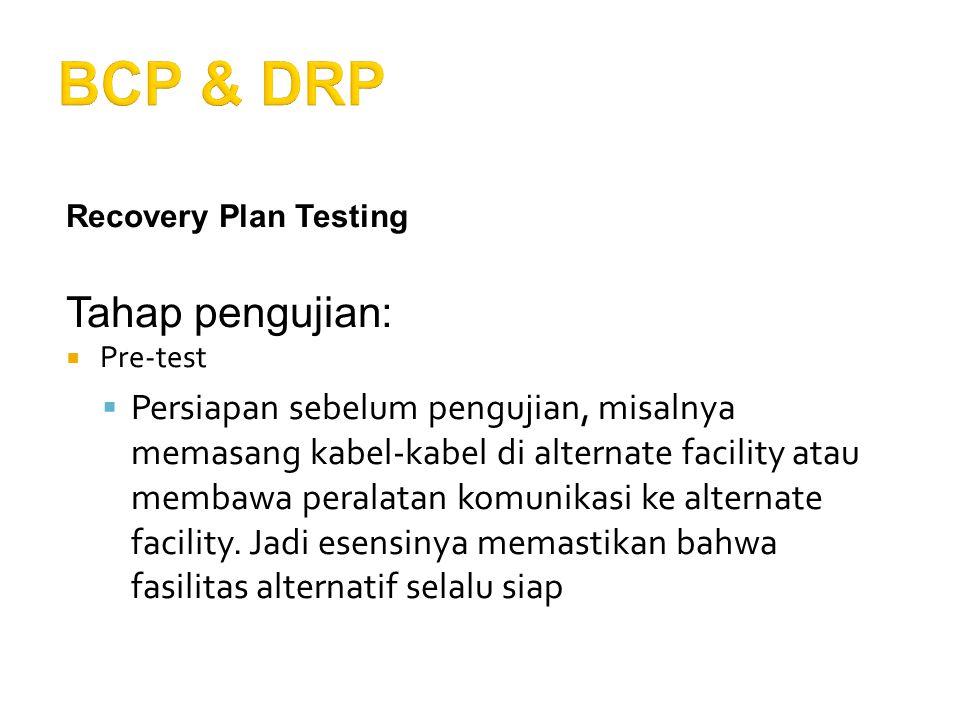 BCP & DRP Tahap pengujian: