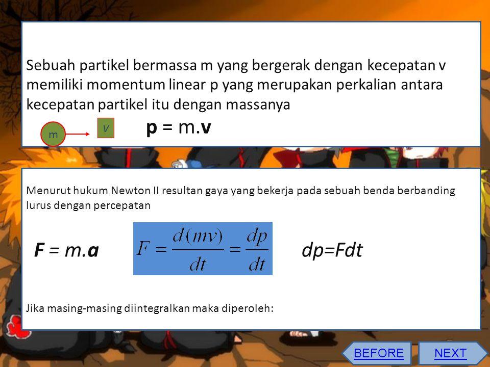 Sebuah partikel bermassa m yang bergerak dengan kecepatan v memiliki momentum linear p yang merupakan perkalian antara kecepatan partikel itu dengan massanya