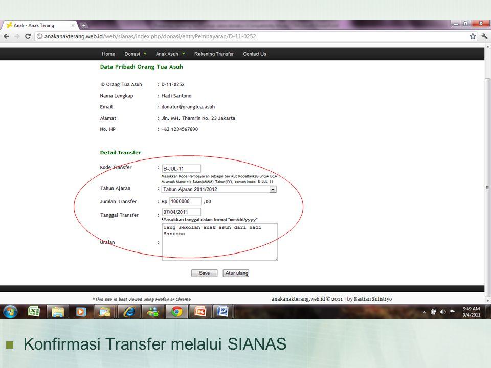 Konfirmasi Transfer melalui SIANAS