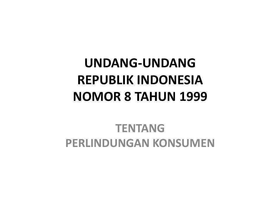 UNDANG-UNDANG REPUBLIK INDONESIA NOMOR 8 TAHUN 1999