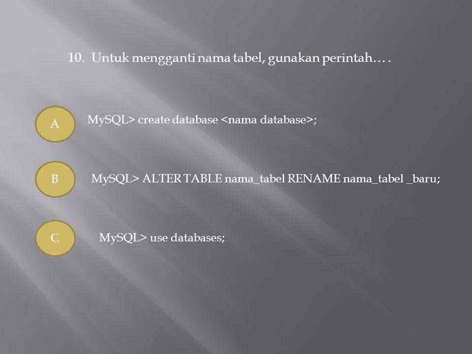 10. Untuk mengganti nama tabel, gunakan perintah… .