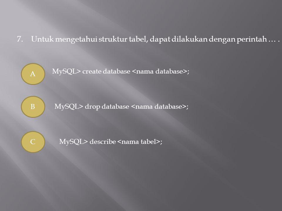 7. Untuk mengetahui struktur tabel, dapat dilakukan dengan perintah … .