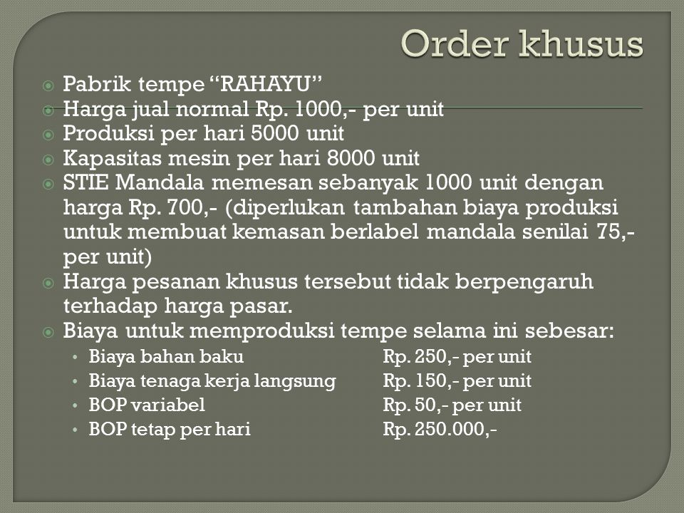 Order khusus Pabrik tempe RAHAYU