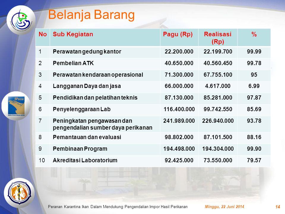 Belanja Barang No Sub Kegiatan Pagu (Rp) Realisasi (Rp) % 1