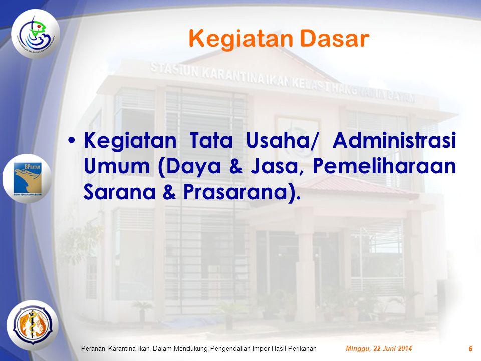 Kegiatan Dasar Kegiatan Tata Usaha/ Administrasi Umum (Daya & Jasa, Pemeliharaan Sarana & Prasarana).