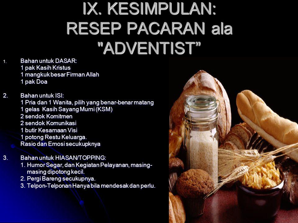 IX. KESIMPULAN: RESEP PACARAN ala ADVENTIST