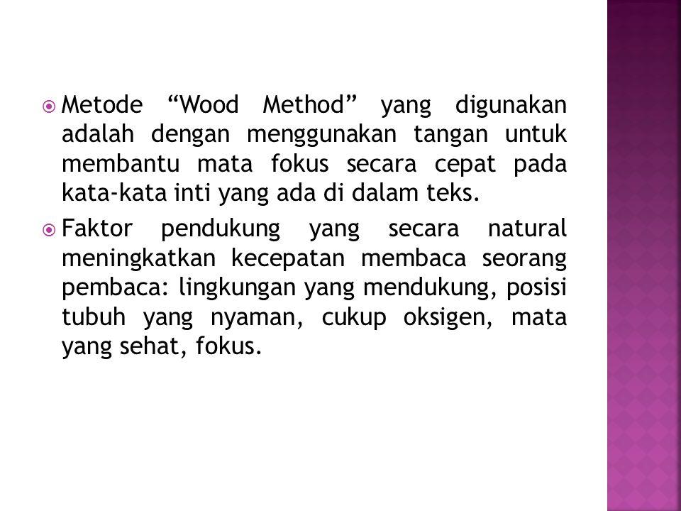 Metode Wood Method yang digunakan adalah dengan menggunakan tangan untuk membantu mata fokus secara cepat pada kata-kata inti yang ada di dalam teks.