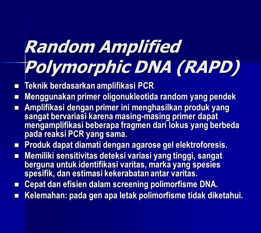 Random Amplified Polymorphic DNA (RAPD)