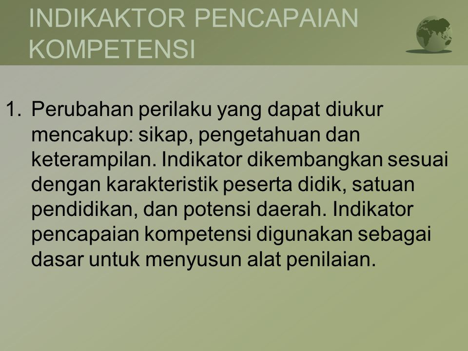 INDIKAKTOR PENCAPAIAN KOMPETENSI