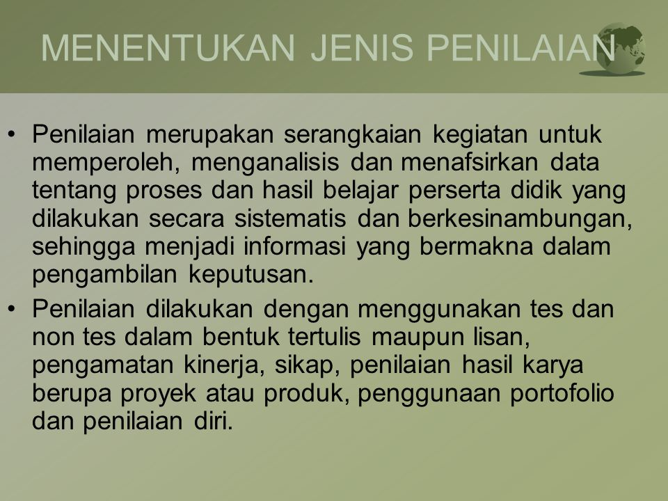 MENENTUKAN JENIS PENILAIAN