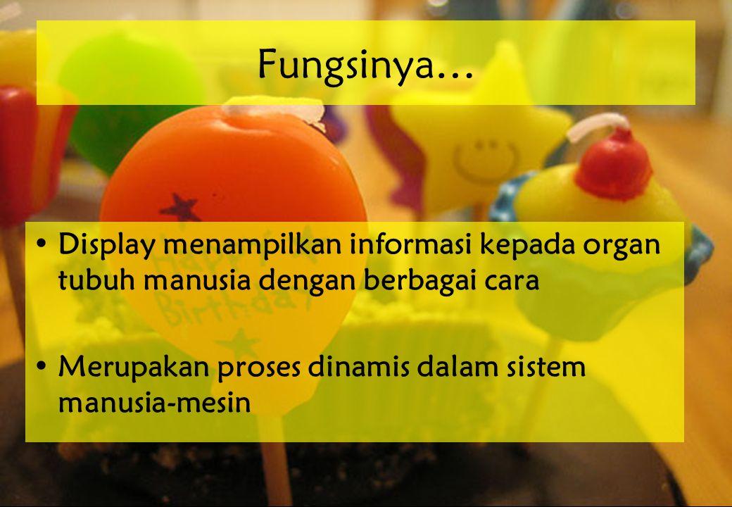 Fungsinya… Display menampilkan informasi kepada organ tubuh manusia dengan berbagai cara.