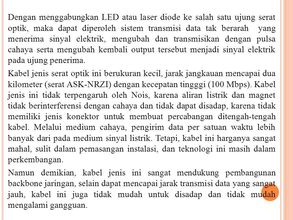 Dengan menggabungkan LED atau laser diode ke salah satu ujung serat optik, maka dapat diperoleh sistem transmisi data tak berarah yang menerima sinyal elektrik, mengubah dan transmisikan dengan pulsa cahaya serta mengubah kembali output tersebut menjadi sinyal elektrik pada ujung penerima.