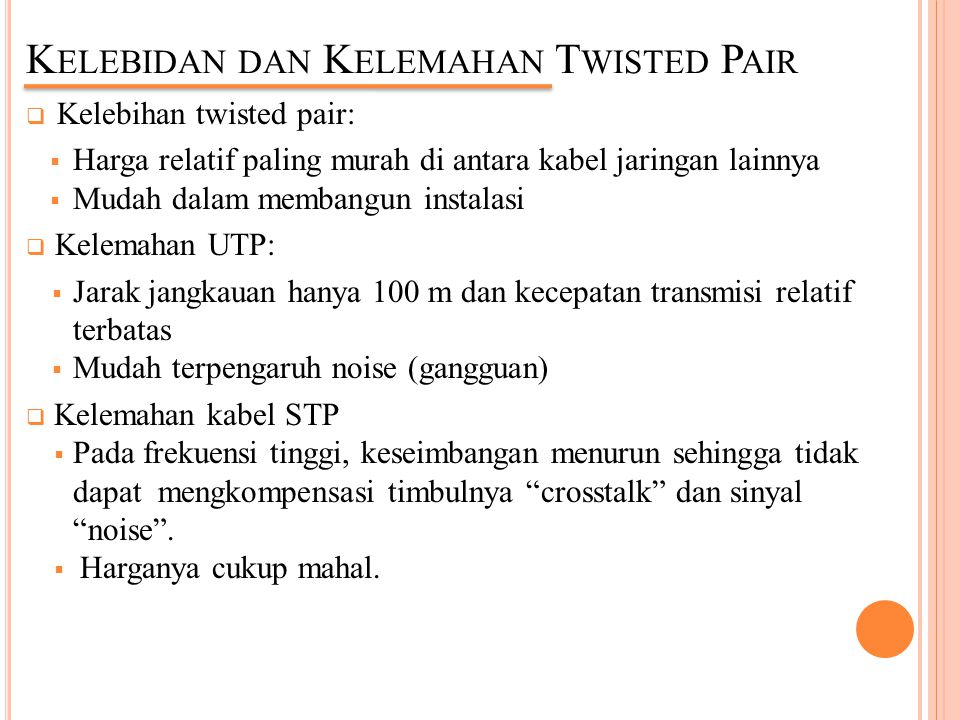 Kelebidan dan Kelemahan Twisted Pair