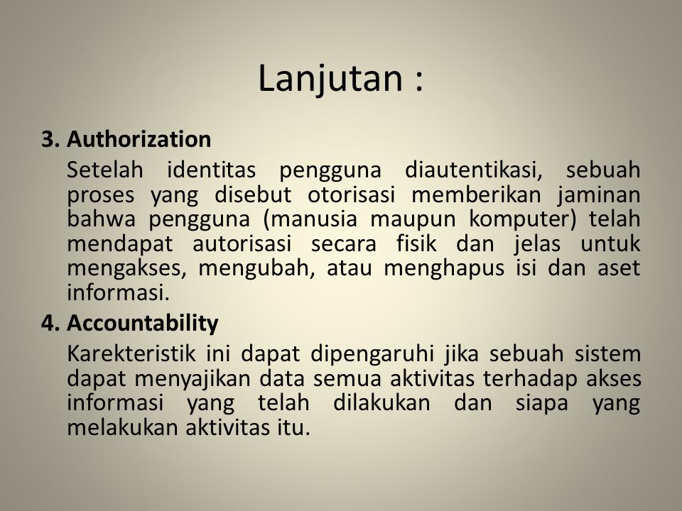Lanjutan : 3. Authorization