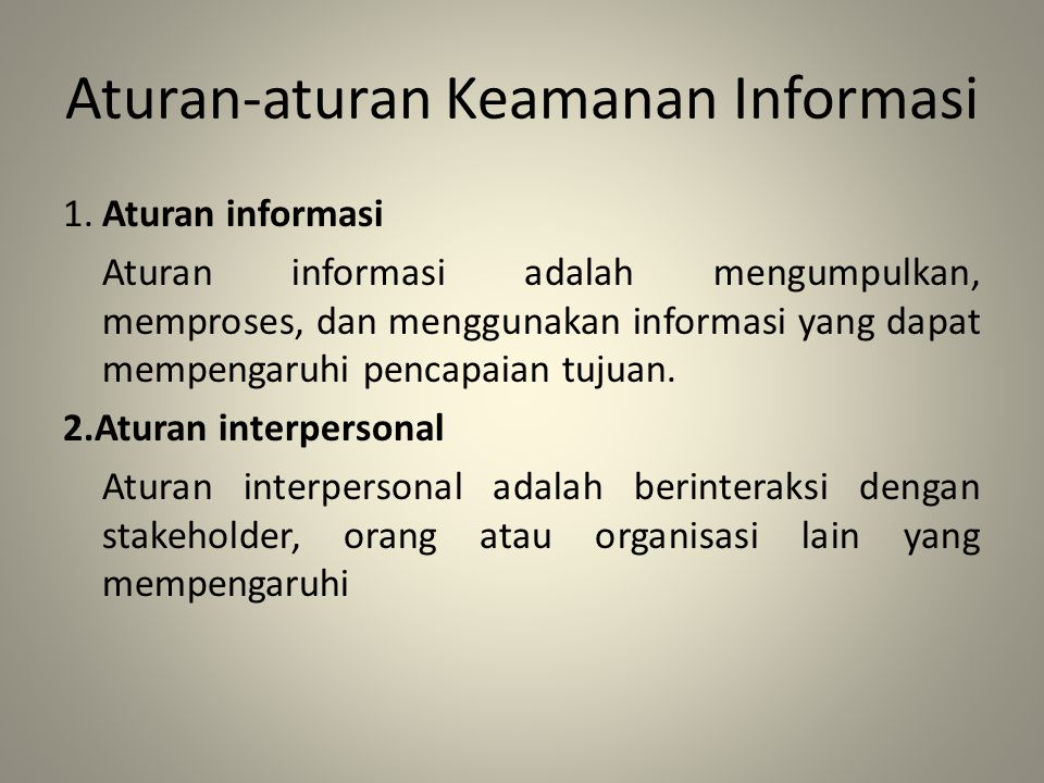 Aturan-aturan Keamanan Informasi