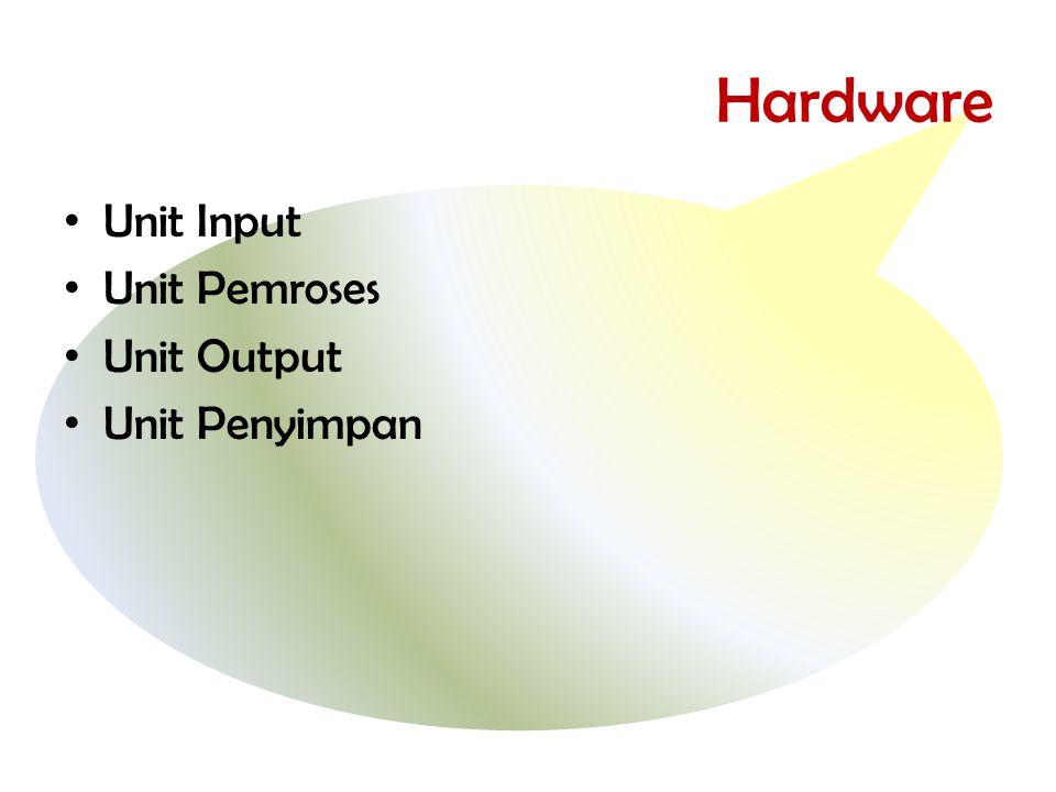 Hardware Unit Input Unit Pemroses Unit Output Unit Penyimpan