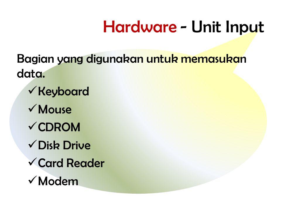 Hardware - Unit Input Bagian yang digunakan untuk memasukan data.