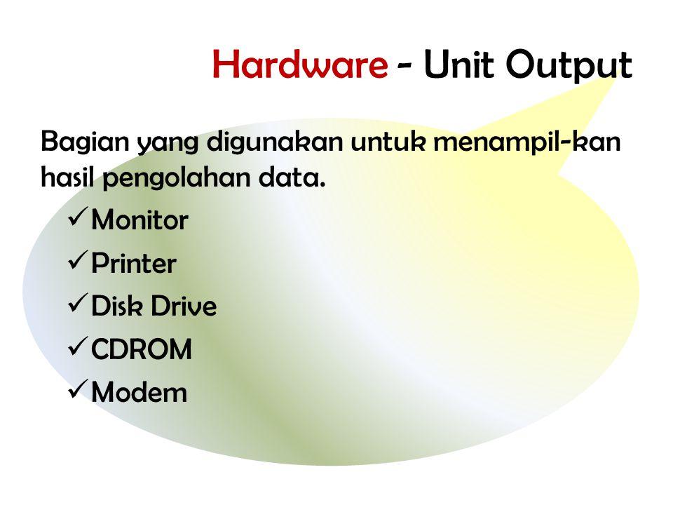 Hardware - Unit Output Bagian yang digunakan untuk menampil-kan hasil pengolahan data. Monitor. Printer.