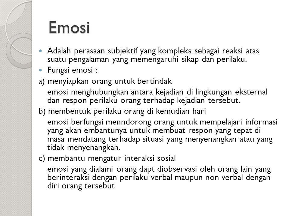 Emosi Adalah perasaan subjektif yang kompleks sebagai reaksi atas suatu pengalaman yang memengaruhi sikap dan perilaku.