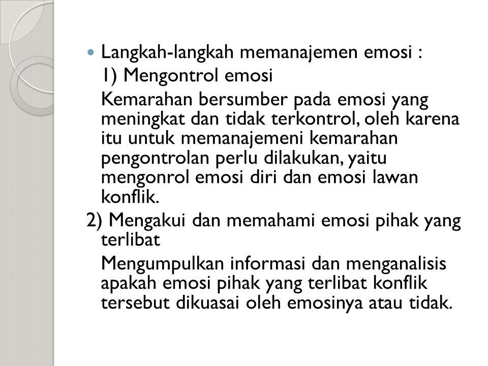 Langkah-langkah memanajemen emosi :
