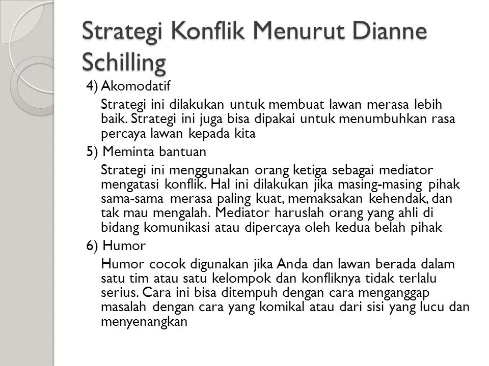 Strategi Konflik Menurut Dianne Schilling