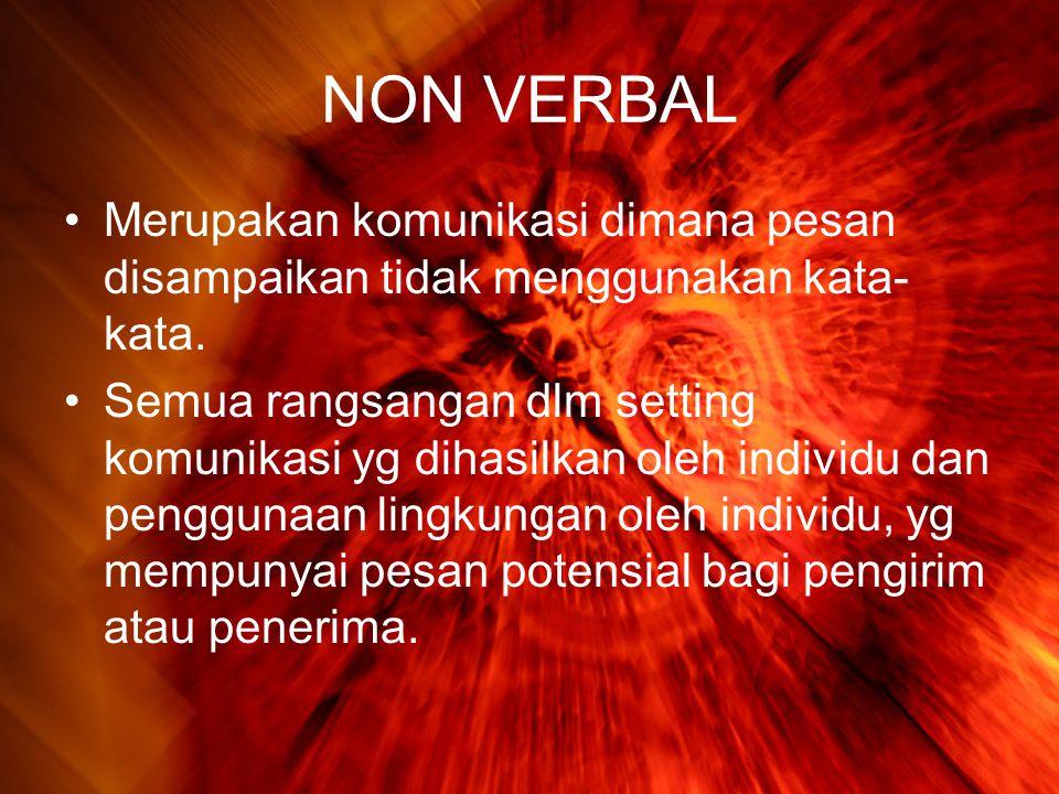 NON VERBAL Merupakan komunikasi dimana pesan disampaikan tidak menggunakan kata-kata.