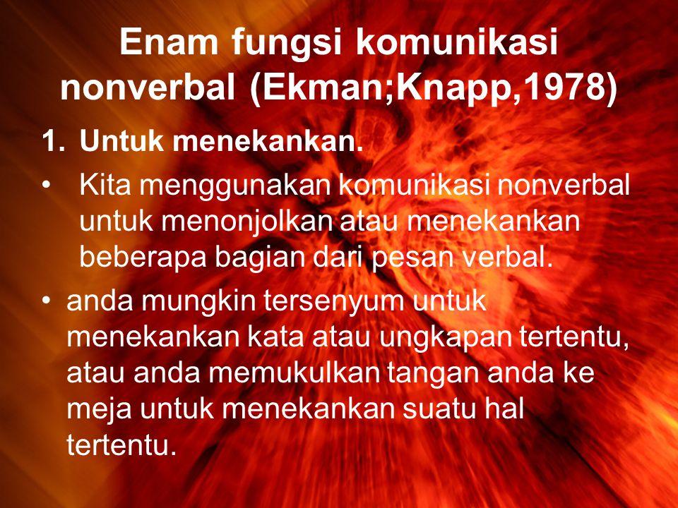 Enam fungsi komunikasi nonverbal (Ekman;Knapp,1978)