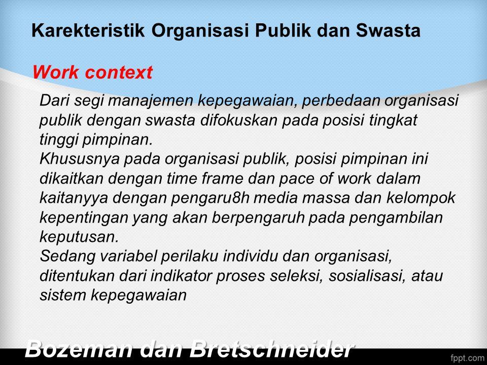 Karekteristik Organisasi Publik dan Swasta