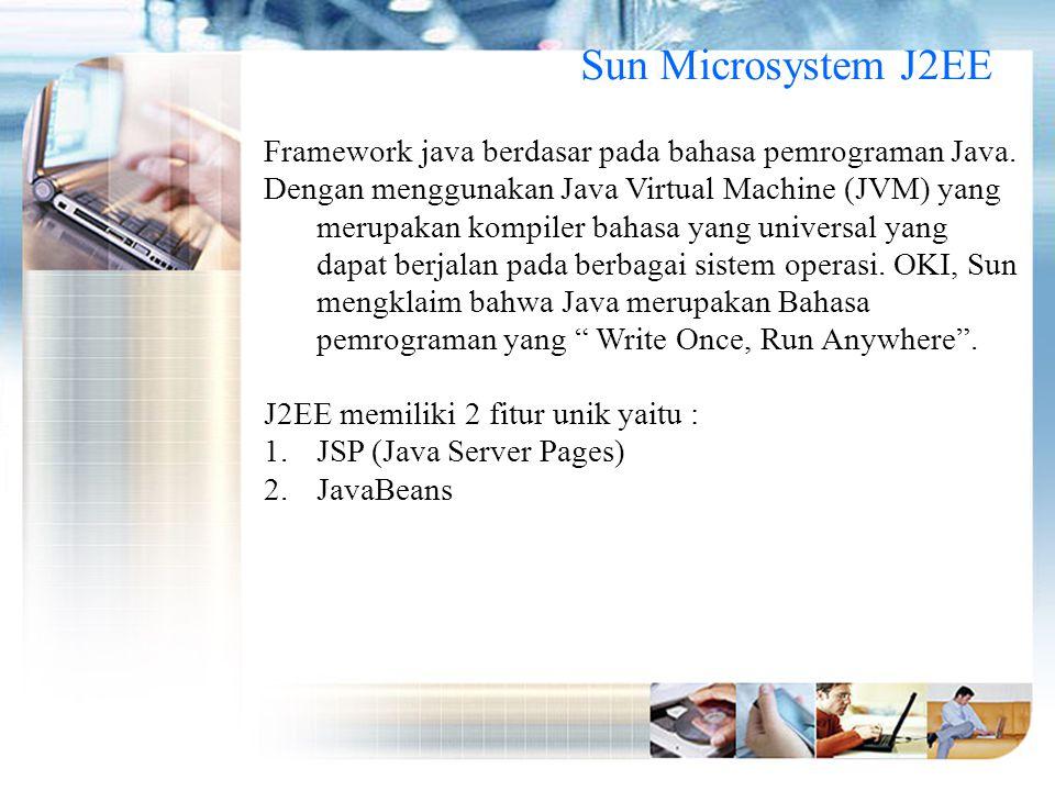 Sun Microsystem J2EE Framework java berdasar pada bahasa pemrograman Java.