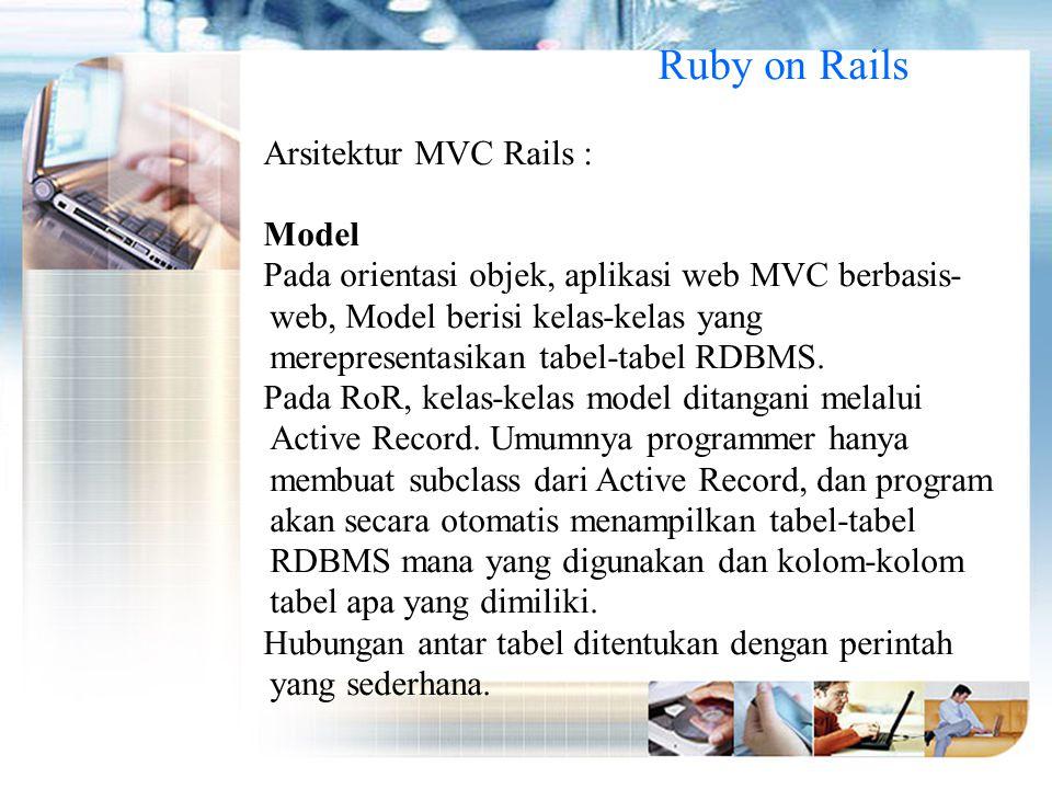 Ruby on Rails Arsitektur MVC Rails : Model