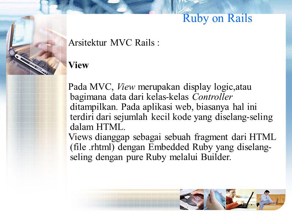 Ruby on Rails Arsitektur MVC Rails : View